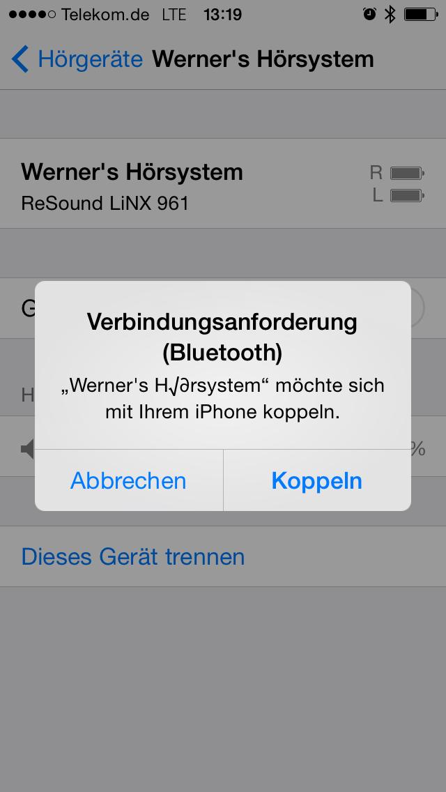 Der Kopplungsbildschirm in iOS 7.1 zum Koppeln von Hörgeräten mit dem iPhone