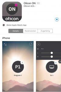 Die Oticon On App im Appstore